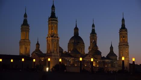 The-classic-and-beautiful-Catholic-church-at-Zaragoza-Spain-at-dusk