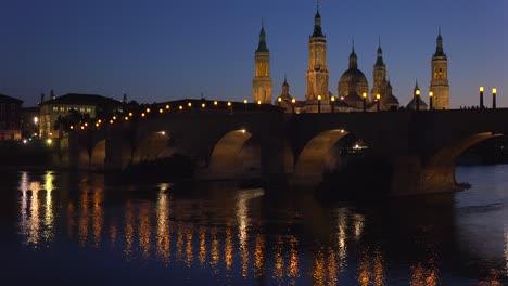 The-classic-and-beautiful-Catholic-church-at-Zaragoza-Spain-at-dusk-1