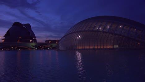 Futuristic-architecture-of-Valencia-Spain-at-dusk