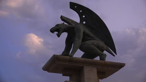 A-mythical-gryphon-statue-near-the-city-of-Valencia-Spain-1