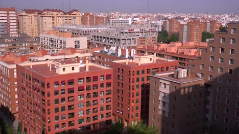 High-angle-view-over-apartment-buildings-in-Valencia-Spain