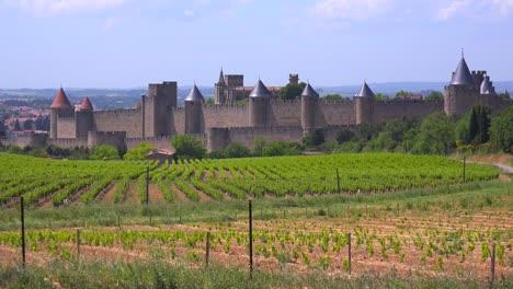 La-Hermosa-Fortaleza-Del-Castillo-De-Carcassonne-Francia-Con-Campos-En-Primer-Plano