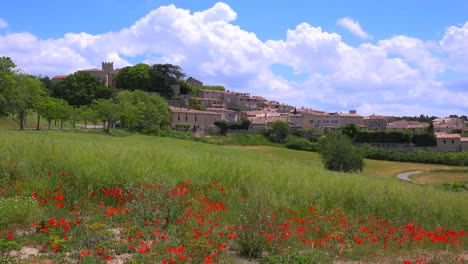Wildflowers-bloom-near-a-beautiful-ancient-town-in-Provence-France