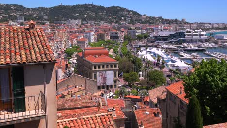 A-view-across-the-cityscape-and-harbor-of-Cannes-France