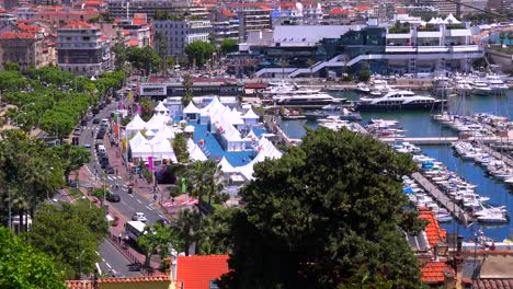 A-view-across-the-cityscape-and-port-of-Cannes-France