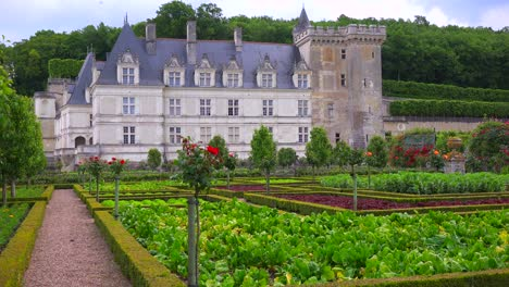 Establishing-shot-of-the-remarkable-chateaux-and-maze-gardens-of-Villandry-in-the-Loire-Valley-in-France