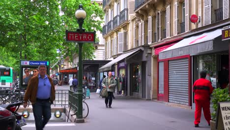 A-metro-subway-entrance-on-a-street-in-paris-France