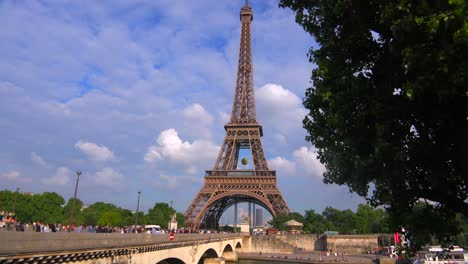 Tilt-up-from-the-Seine-River-to-the-Eiffel-Tower-Paris