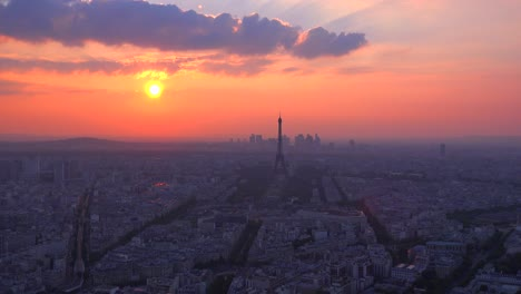High-angle-view-of-the-Eiffel-Tower-and-Paris-at-sunset