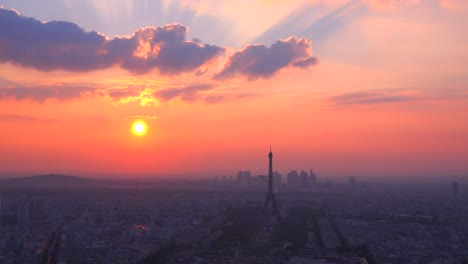 Gorgeous-high-angle-view-of-the-Eiffel-Tower-and-Paris-at-sunset