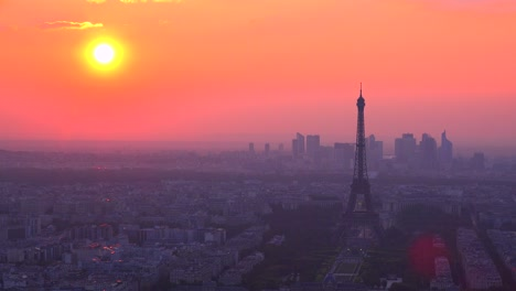 Gorgeous-high-angle-view-of-the-Eiffel-Tower-and-Paris-at-sunset-2