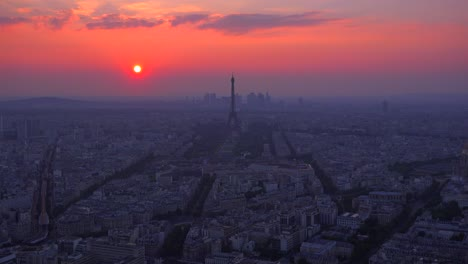 Gorgeous-high-angle-view-of-the-Eiffel-Tower-and-Paris-at-dusk