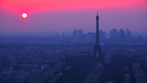 Gorgeous-high-angle-view-of-the-Eiffel-Tower-and-Paris-at-dusk-1