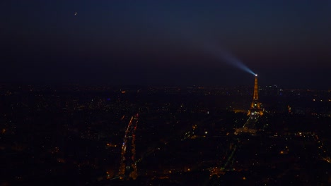 Gorgeous-high-angle-view-of-the-Eiffel-Tower-and-city-of-Paris-at-night