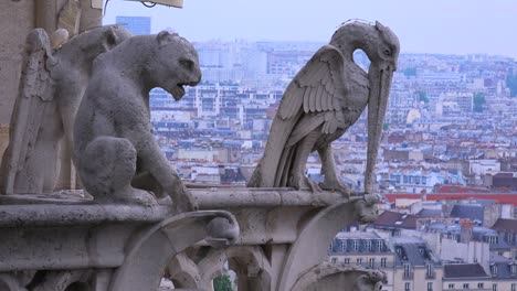 Gargoyles-watch-over-Paris-France-from-Notre-Dame-cathedral-4