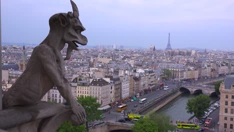 Classic-shot-of-gargoyles-watch-over-Paris-France-from-Notre-Dame-cathedral