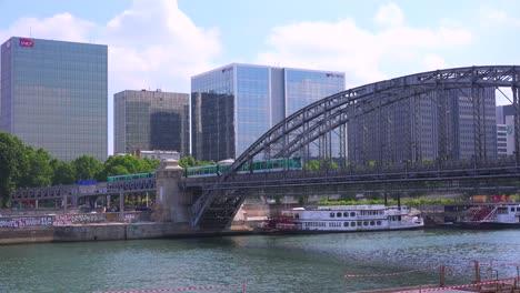A-subway-train-crosses-a-bridge-in-Paris
