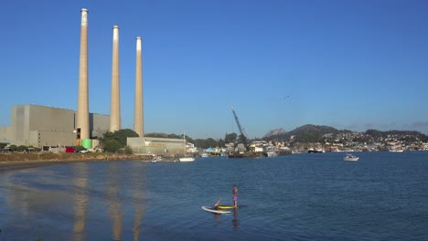 Smokestacks-from-a-power-plant-tower-over-Morro-Bay-California