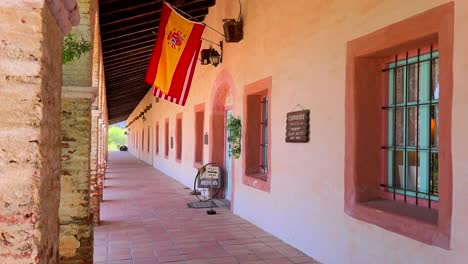 View-of-the-columns-and-adobe-walls-of-a-California-Mission