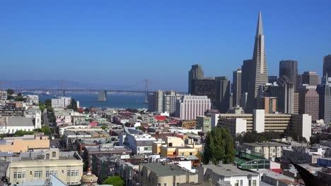 Establishing-shot-of-San-Francisco-California-with-Bay-Bridge-background