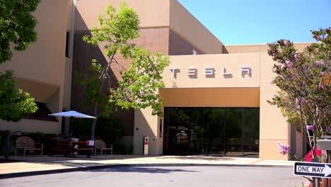 Establishing-shot-of-Tesla-corporate-headquarters-in-Silicon-Valley-California