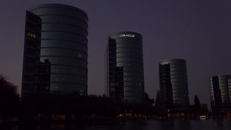 Establishing-shot-of-Oracle-Headquarters-in-Silicon-Valley-California-at-night