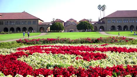 Establishing-shot-of-the-Stanford-University-campus-at-Palo-Alto-California-with-flower-garden-foreground