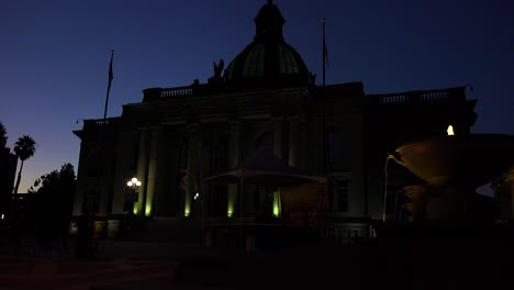 The-imposing-City-Hall-building-of-Redwood-City-California-at-night