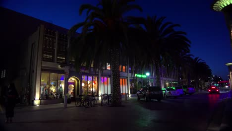 Establishing-shot-of-a-small-retail-business-district-at-night-1