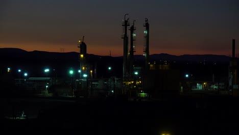 Establishing-shots-of-an-oil-refinery-at-night