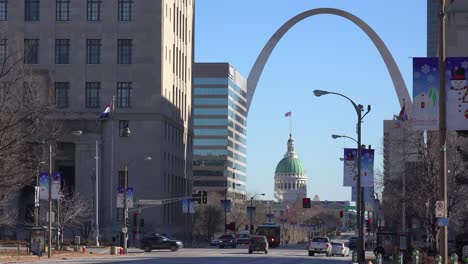 An-establishing-shot-of-downtown-St-Louis-Missouri-with-the-Gateway-Arch-in-distance-7