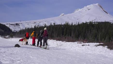 Cross-country-skiers-and-their-St-Bernard-dog-prepare-to-trek-to-Mt-Hood-Oregon