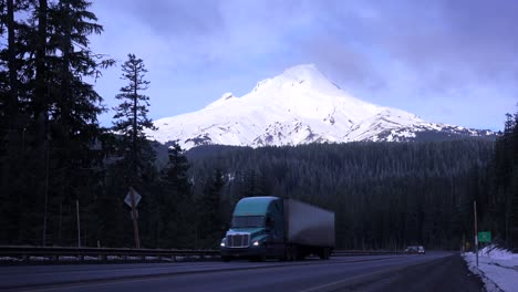 An-unmarked-truck-passes-on-a-mountain-road-near-Mt-Hood-Oregon
