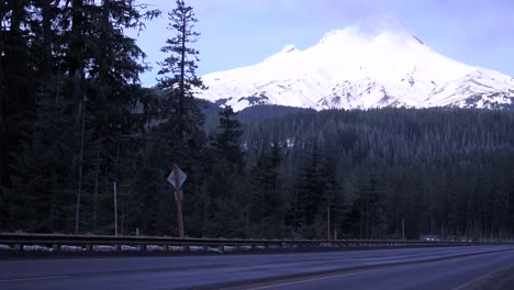 An-unmarked-truck-passes-on-a-mountain-road-near-Mt-Hood-Oregon-1