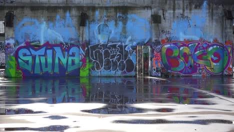 Colorido-Graffiti-Adorna-Un-Edificio-Abandonado-En-Un-área-Urbana