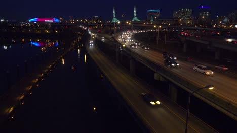 Good-footage-of-freeway-or-highway-traffic-at-night-near-an-interchange-in-Portland-Oregon-1