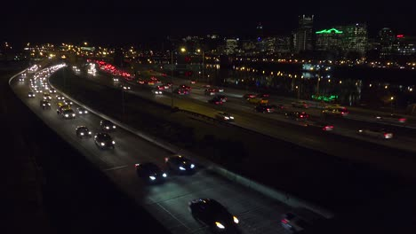 Good-footage-of-freeway-or-highway-traffic-at-night-with-the-Portland-Oregon-city-skyline-background