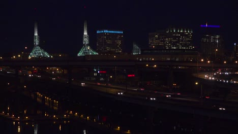Good-footage-of-freeway-or-highway-traffic-at-night-with-the-Portland-Oregon-city-skyline-background-4