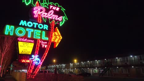 A-1950-s-neon-sign-welcomes-travelers-to-a-class-motel