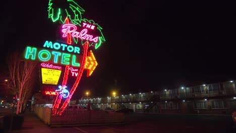 A-1950-s-neon-sign-welcomes-travelers-to-a-classic-old-roadside-motel