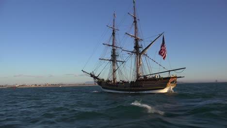 A-tall-historic-clipper-ship-sails-on-the-ocean