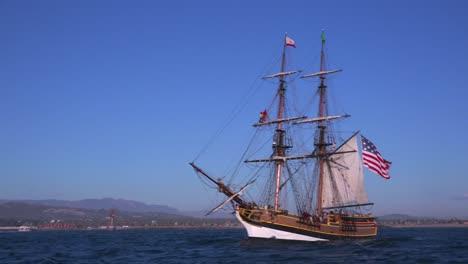 A-tall-masted-clipper-ship-sails-on-the-high-seas