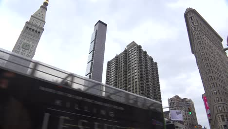 Low-angle-establishing-shot-of-New-York-s-iconic-Flatiron-Building