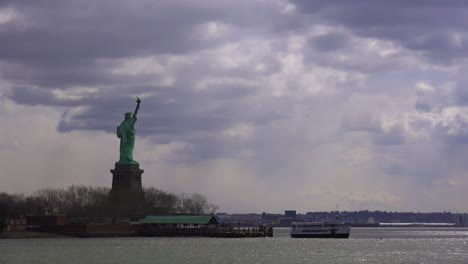 Beautiful-mystical-clouds-behind-the-Statue-of-Liberty-in-new-York-harbor