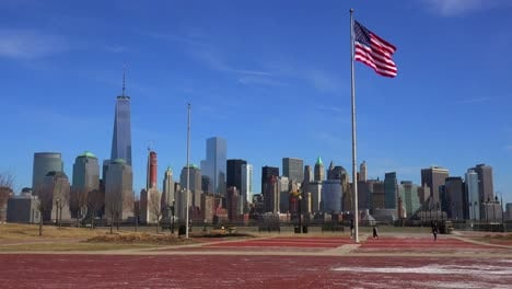 Wide-establishing-shot-of-New-York-city-with-American-flag-foreground