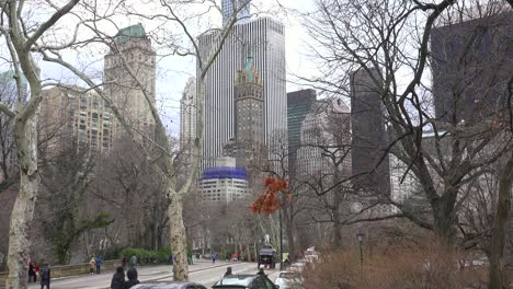 Horse-drawn-carriages-move-through-central-park-in-New-York-city