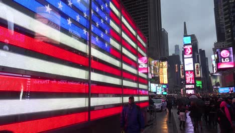 A-neon-American-flag-in-Times-Square-New-York-City