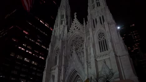 Low-angle-shot-of-New-York-s-magnificent-gothic-St-Patrick-s-cathedral-at-night