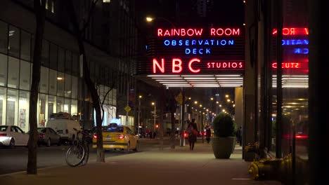 Establishing-shot-of-the-NBC-studios-at-Rockefeller-Center-and-the-Rainbow-Room-at-night