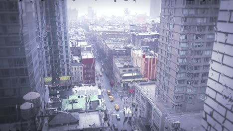 High-angle-over-Manhattan-New-York-with-heavy-rain-falling-and-rolling-down-windows